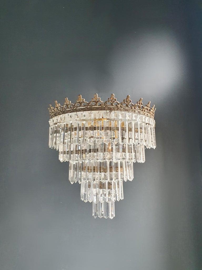 Mid-20th Century Art Deco Low Plafonnier Brass Crystal Chandelier Lustre Ceiling Lamp Antique For Sale