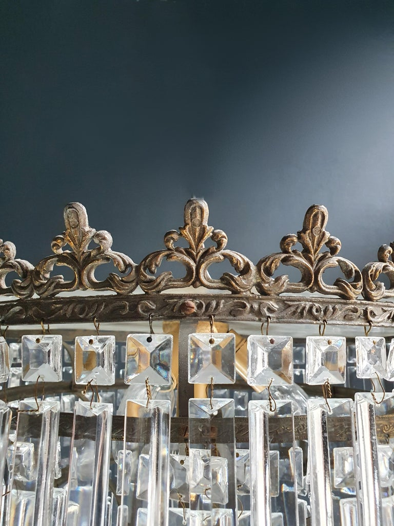 Wire Art Deco Low Plafonnier Brass Crystal Chandelier Lustre Ceiling Lamp Antique For Sale