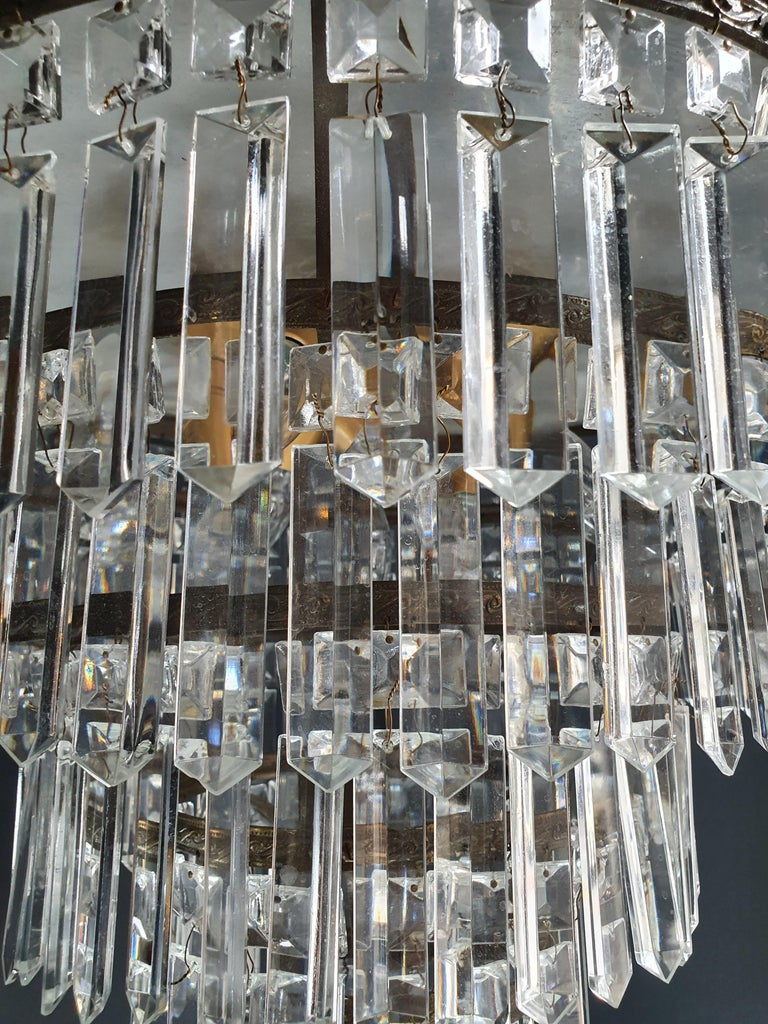 Art Deco Low Plafonnier Brass Crystal Chandelier Lustre Ceiling Lamp Antique For Sale 1