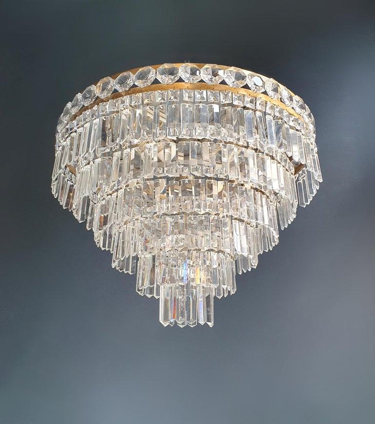 Art Deco Low Plafonnier Brass Crystal Chandelier Lustre Ceiling Lamp Antique For Sale 2