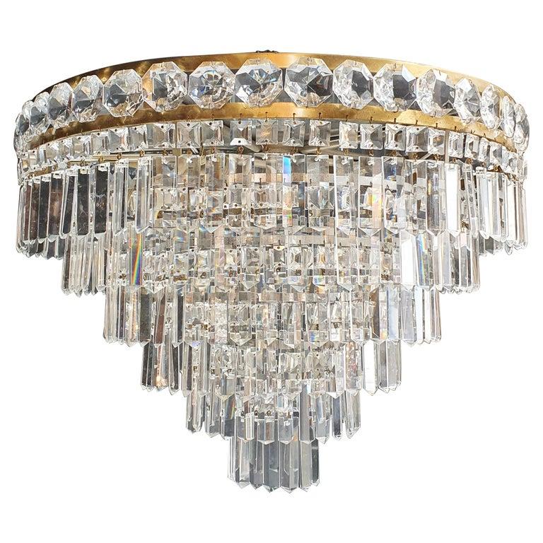 Art Deco Low Plafonnier Brass Crystal Chandelier Lustre Ceiling Lamp Antique For Sale