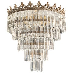 Art Deco Low Plafonnier Brass Crystal Chandelier Lustre Ceiling Lamp Antique