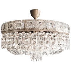 Art Deco Low Plafonnier Silver Crystal Chandelier Lustre Ceiling Lamp Antique