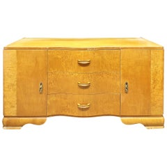 Art Deco Low TV Cabinet in Birchwood