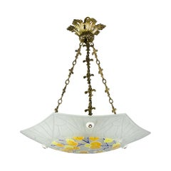 Art Deco Loys Lucha Signed Enameled and Frosted Glass Chandelier Pendant, 1930s