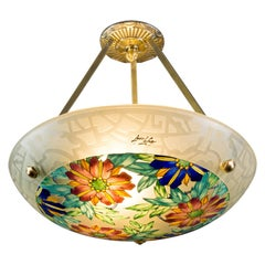 Art Deco Loys Lucha Signed Enameled Polychrome Glass Pendant Chandelier, 1930s
