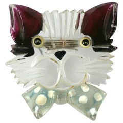 Art Deco Lucite Cat Brooch