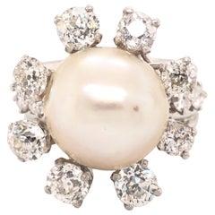 Art Deco Saltwater Pearl & Diamond Platinum Cocktail Ring