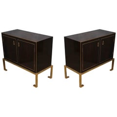 Art Deco Macassar and Brass Italian Sideboard, 1940
