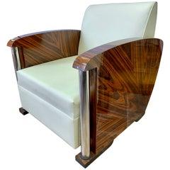 Art Deco Macassar, Chrome and Leather Club Chair