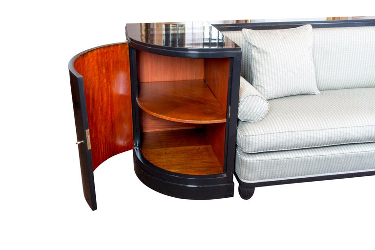 Early 20th Century Art Deco Black Ebonized Sofa