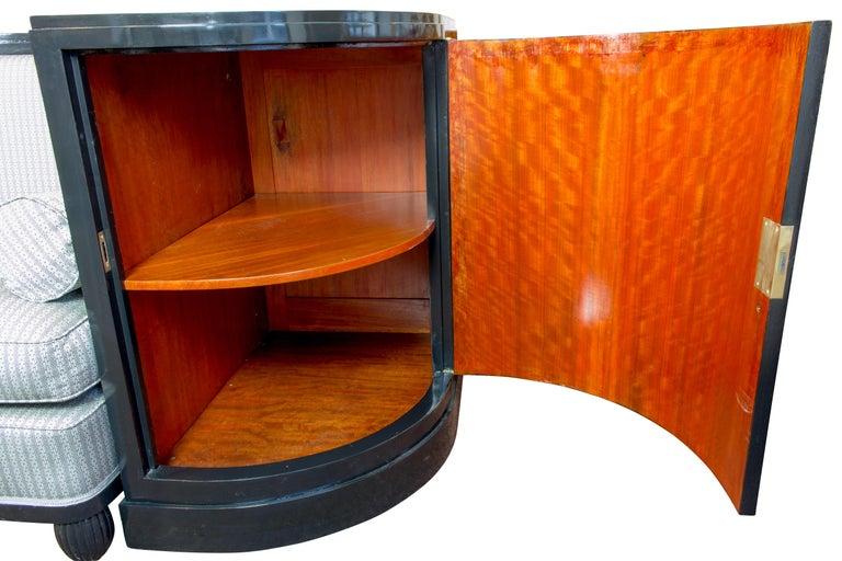 Mahogany Art Deco Black Ebonized Sofa