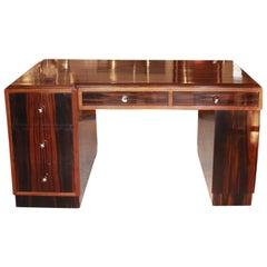 Art Deco Macassar Ebony Desk Original Chromed Brass Handles French Circa 1930