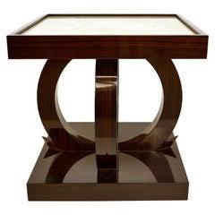 Art Deco Style Macassar Ebony Side Table with Onyx Top
