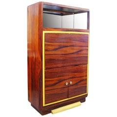 Art Deco Macassar Ebony Vitrine Cabinet with Bar and Secretary Desk