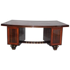 Art Deco Macassar Pedestal Desk in the Manner of Émile-Jacques Ruhlmann, 1930