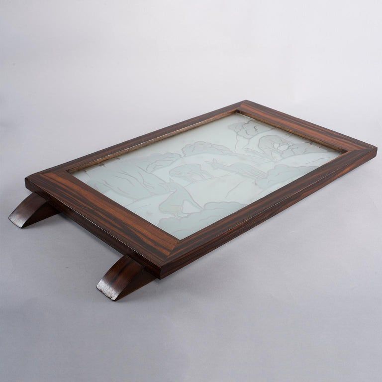 Belgian Art Deco Macassar Tray with Acid Etched Glass Top For Sale