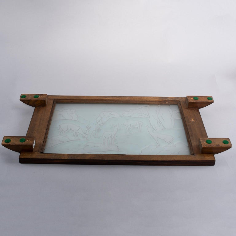 20th Century Art Deco Macassar Tray with Acid Etched Glass Top For Sale