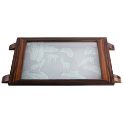 Art Deco Macassar Tray with Acid Etched Glass Top