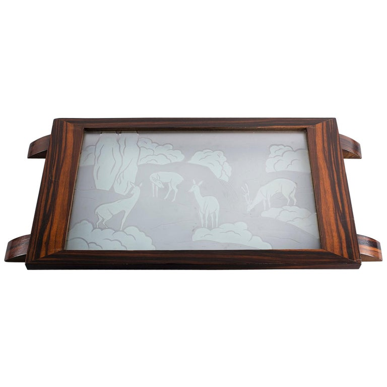 Art Deco Macassar Tray with Acid Etched Glass Top For Sale