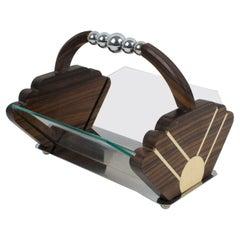 Art Deco Macassar Wood and Chrome Centerpiece Bowl Basket
