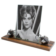 Art Deco Macassar Wood and Chrome Picture Frame
