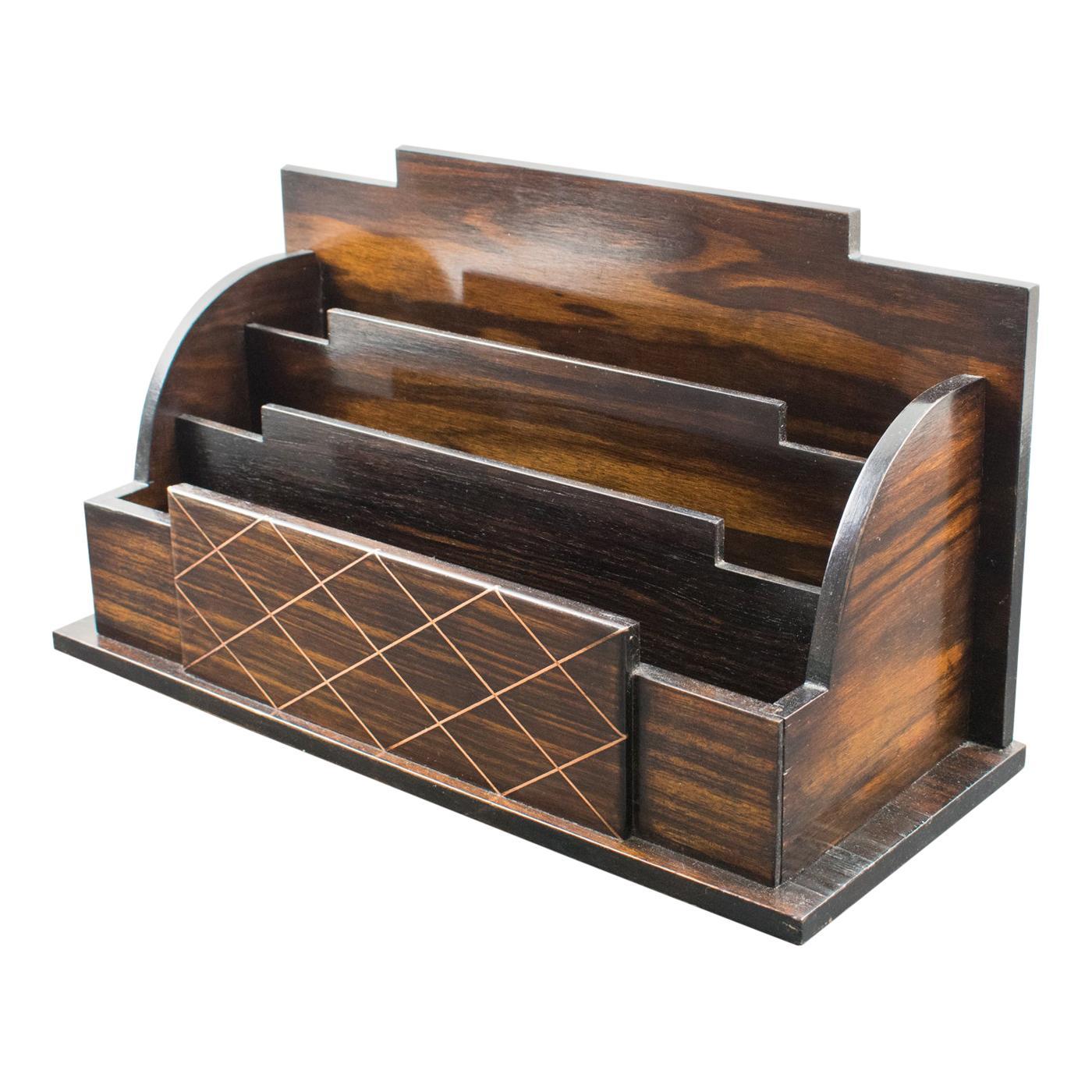 Art Deco Macassar Wood and Copper Desk Accessory Letter Holder