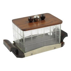 Art Deco Macassar Wood and Crystal Cookie Box Candy Jar