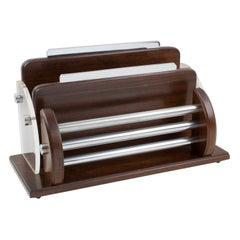 Art Deco Macassar Wood, Chrome and Lucite Desk Accessory Letter Holder