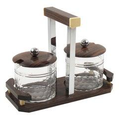 Art Deco Macassar Wood Chrome Crystal Condiment Jar Set