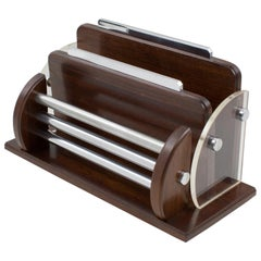 Art Deco Macassar Wood Chrome Lucite Desk Accessory Letter Holder