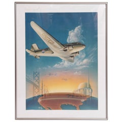Art Deco Machine Age 1939 World's Fair Poster United Airlines Radebaugh DC 3