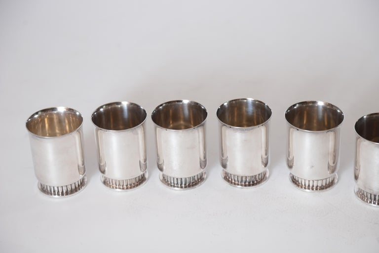Art Deco Machine Age Albert Feinauer Silver Plate Cocktail Cups Barbour Silver For Sale 4