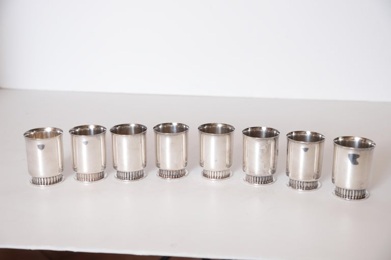 Art Deco Machine Age Albert Feinauer Silver Plate Cocktail Cups Barbour Silver For Sale 5