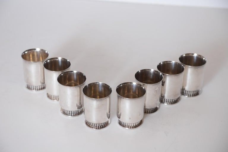 Plated Art Deco Machine Age Albert Feinauer Silver Plate Cocktail Cups Barbour Silver For Sale