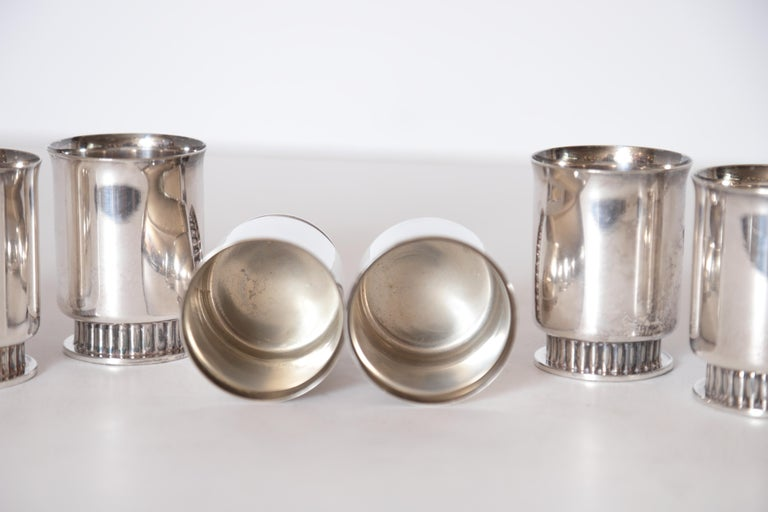 Art Deco Machine Age Albert Feinauer Silver Plate Cocktail Cups Barbour Silver In Good Condition For Sale In Dallas, TX