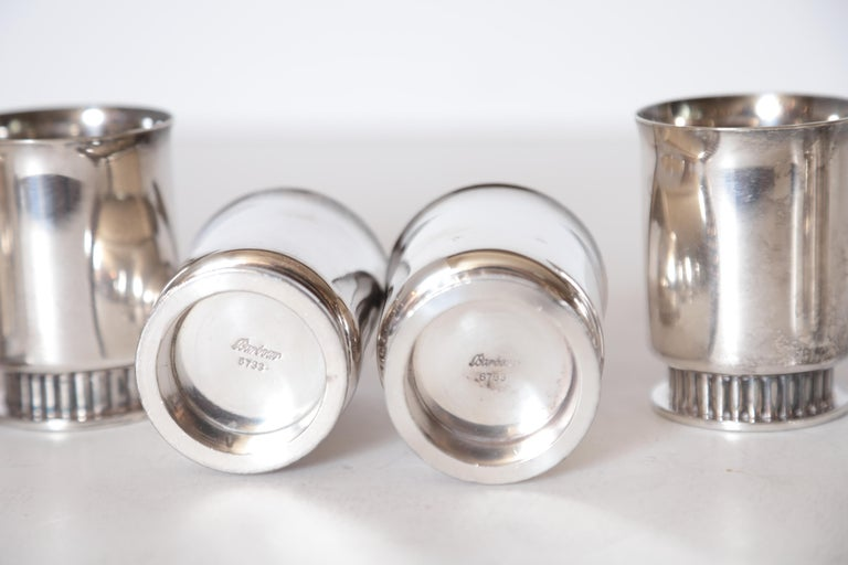Mid-20th Century Art Deco Machine Age Albert Feinauer Silver Plate Cocktail Cups Barbour Silver For Sale
