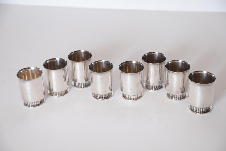 Art Deco Machine Age Albert Feinauer Silver Plate Cocktail Cups Barbour Silver For Sale 2