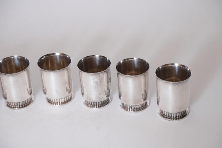 Art Deco Machine Age Albert Feinauer Silver Plate Cocktail Cups Barbour Silver For Sale 3