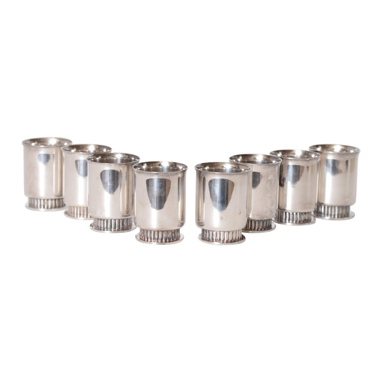 Art Deco Machine Age Albert Feinauer Silver Plate Cocktail Cups Barbour Silver For Sale