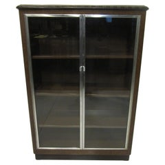 Art Deco Machine Age Aluminum / Glass / Metal Bookcase in the Style of Deskey
