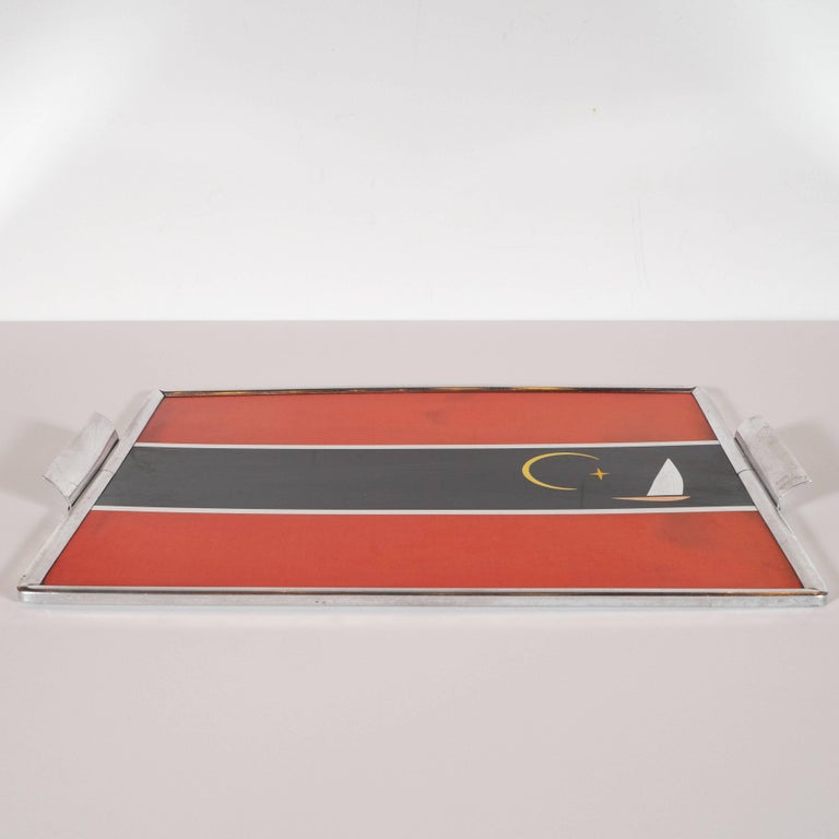 Art Deco Machine Age Aluminum and Inlaid Micarta Bar Tray by George Switzer In Good Condition For Sale In New York, NY