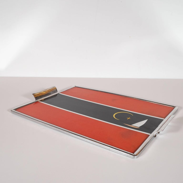 Mid-20th Century Art Deco Machine Age Aluminum and Inlaid Micarta Bar Tray by George Switzer For Sale