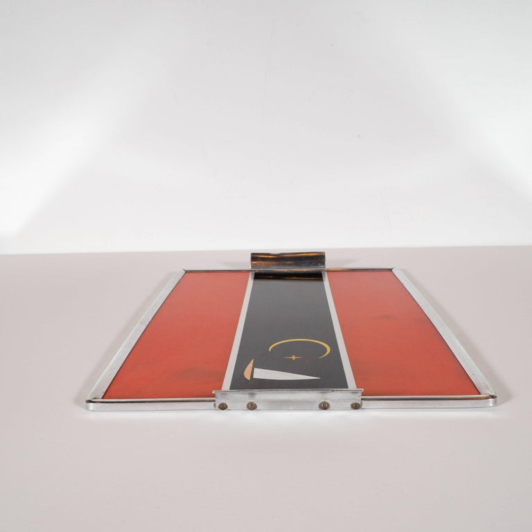 Art Deco Machine Age Aluminum and Inlaid Micarta Bar Tray by George Switzer For Sale 1