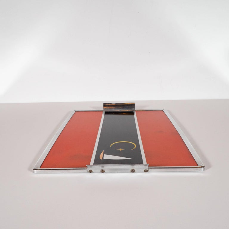 Art Deco Machine Age Aluminum and Inlaid Micarta Bar Tray by George Switzer For Sale 2