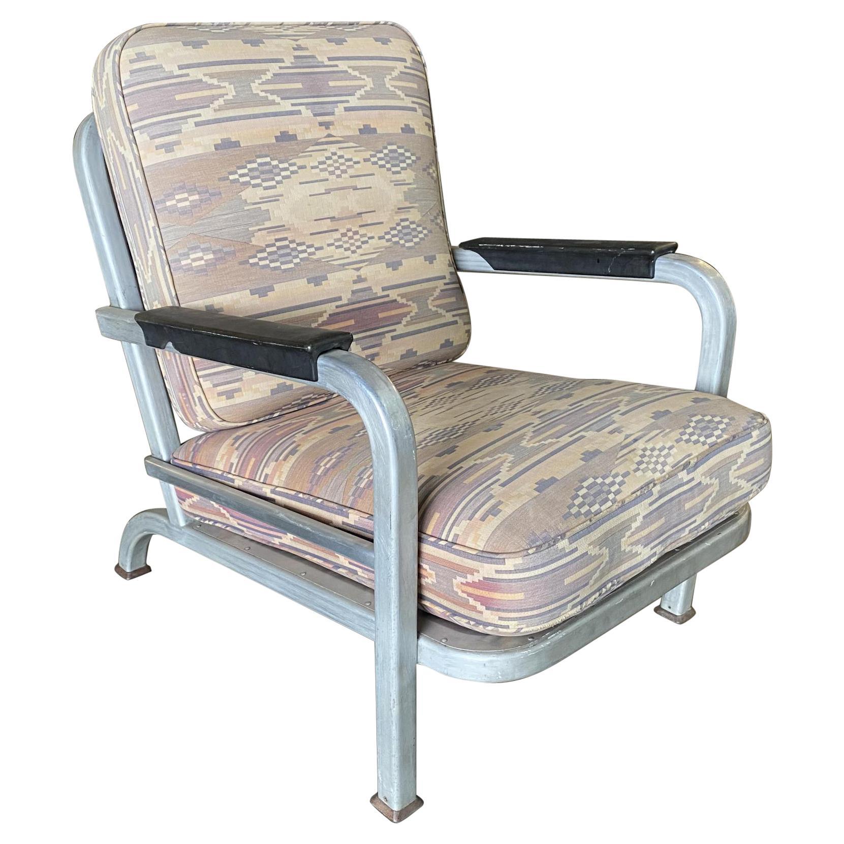 Art Deco Machine Age Aluminum Tublar Lounge Chair