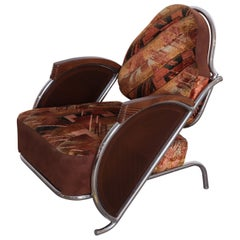 Art Deco Machine Age Armchair, Original Fabric Unusual Jazz Age Design