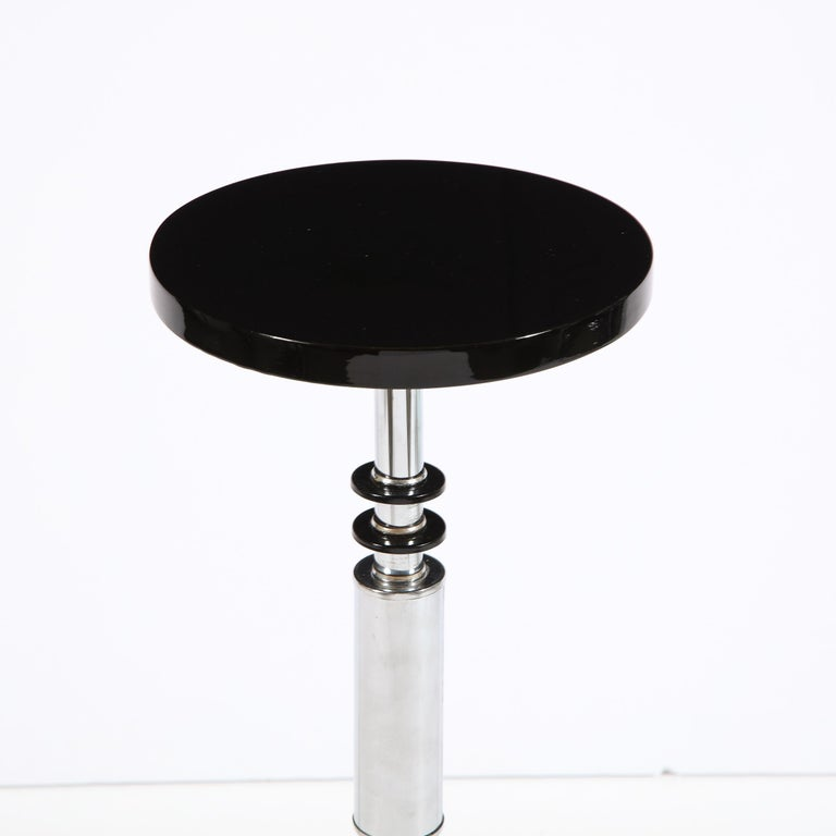 Art Deco Machine Age Banded Drinks Table in Black Lacquer and Chrome For Sale 2