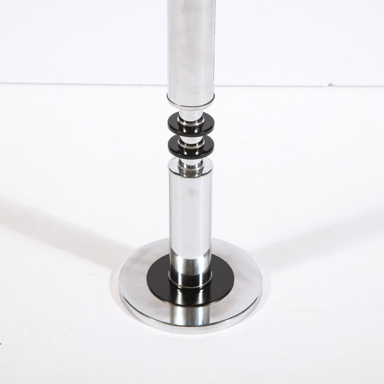 Art Deco Machine Age Banded Drinks Table in Black Lacquer and Chrome For Sale 3