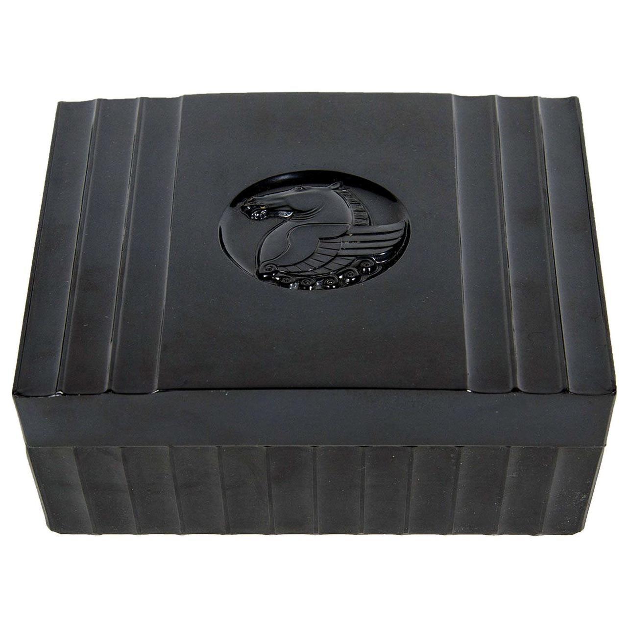 Art Deco Machine Age Black Bakelite Box with a Bas Relief Pegasus Center